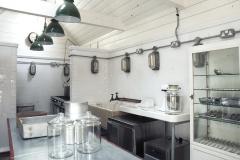 Tin white tiles in commercial kitchen