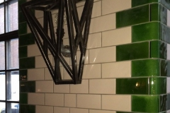 "Tin white 6""x3"" brick tiles with olive curved corners"