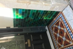 Debenham green blend porch tiles. Tiles installed by Pontcanna Victorian Tiling Ltd