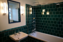 "Emerald 6""x6"" offset  plain tiles with dado border"
