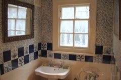 William Morris floral tiles with dark blue spacers