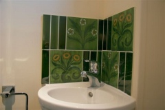 William Morris Findon daisy and buttercup tiles in green