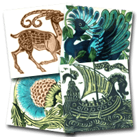 Four decorative tiles from various tiles designers from William de Morgan for example
