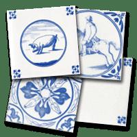 Four decorative tiles by Delft