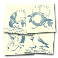 Four decorative tiles from Philip Webb