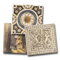 Three decorative tiles from our Victorian Printed and Tinted category