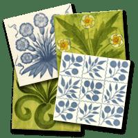 Four decorative tiles by William Morris
