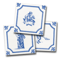 Three delft tiles, a small collection of character designs by delft