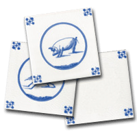 Three delft tiles, a small collection of animal designs by delft