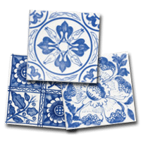 Three Delft Tile designs, a small collection of floral Delft Tiles
