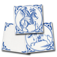 Three delft tiles, a small collection of horse and rider designs by delft