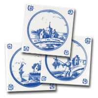 Three delft tiles, a small collection of landscape designs by delft