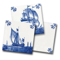 Three delft tiles, a small collection of sailing ships designs by delft