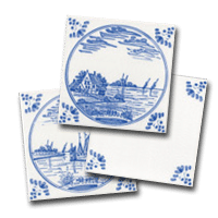 Three delft tiles, a small collection of water designs by delft